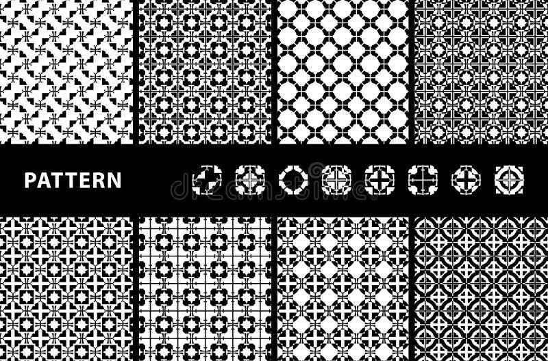 Configurations sans joint noires et blanches illustration de vecteur
