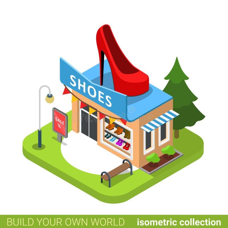 Configurazione di forma della scarpa del negozio del boutique di modo degli stivali delle scarpe illustrazione vettoriale