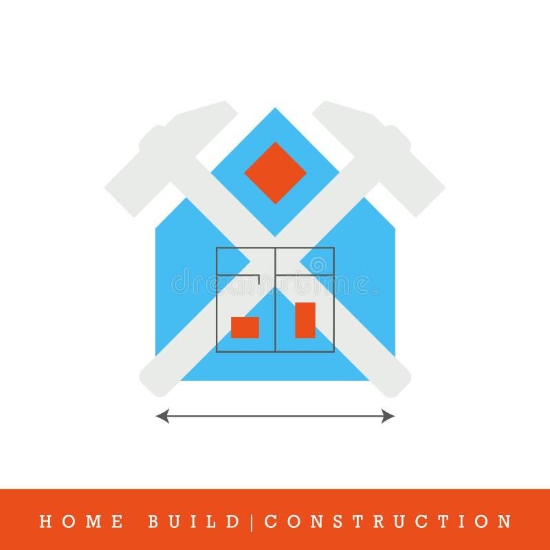 Configurazione domestica, linea piana icona della costruzione di vettore illustrazione di stock