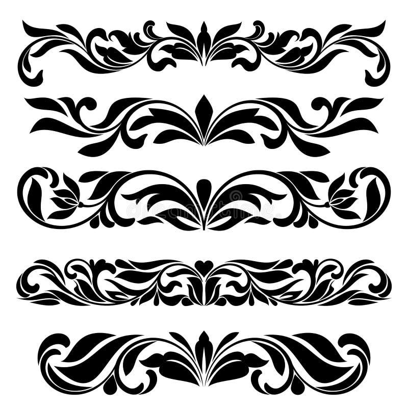 Confina el sistema de elementos decorativo de la ilustración aislado en el blanco para la decoración del texto libre illustration