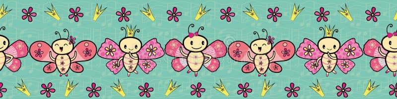 Confine ballante delle farfalle di stile disegnato a mano rosa sveglio di Kawaii Modello senza cuciture di vettore sulle note mus illustrazione di stock