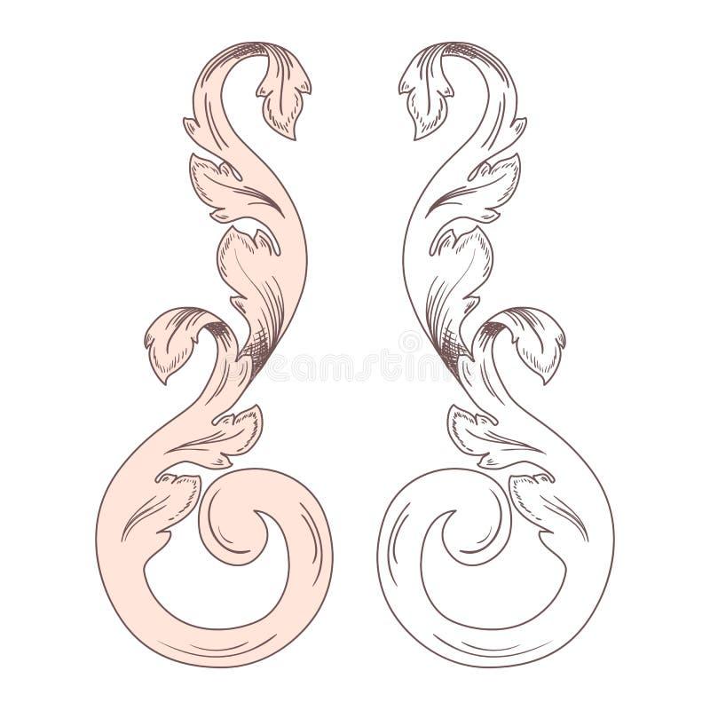 Confine barrocco d'annata dell'ornamento del rotolo della struttura che incide retro vortice floreale de decorativo del fogliame  royalty illustrazione gratis