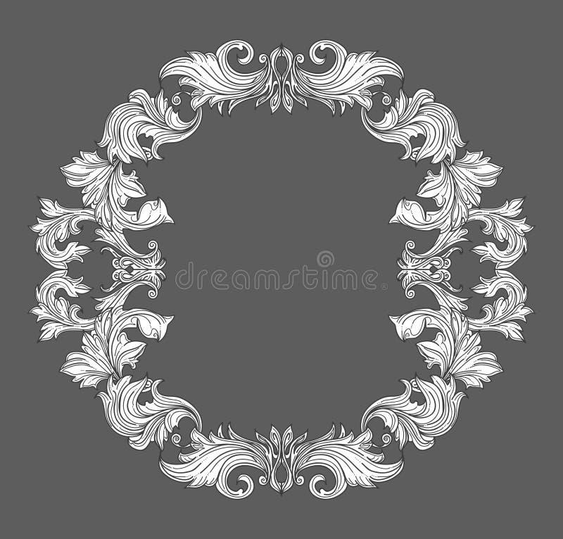 Confine barrocco d'annata della struttura con l'ornamento floreale del rotolo della foglia nella linea stile illustrazione di stock