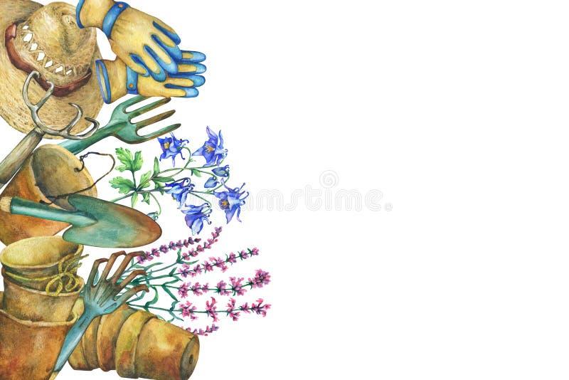 Confine con gli strumenti di giardinaggio, il cappello solare, i guanti, i vasi della pianta di terracotta ed i fiori Pala, rastr illustrazione di stock