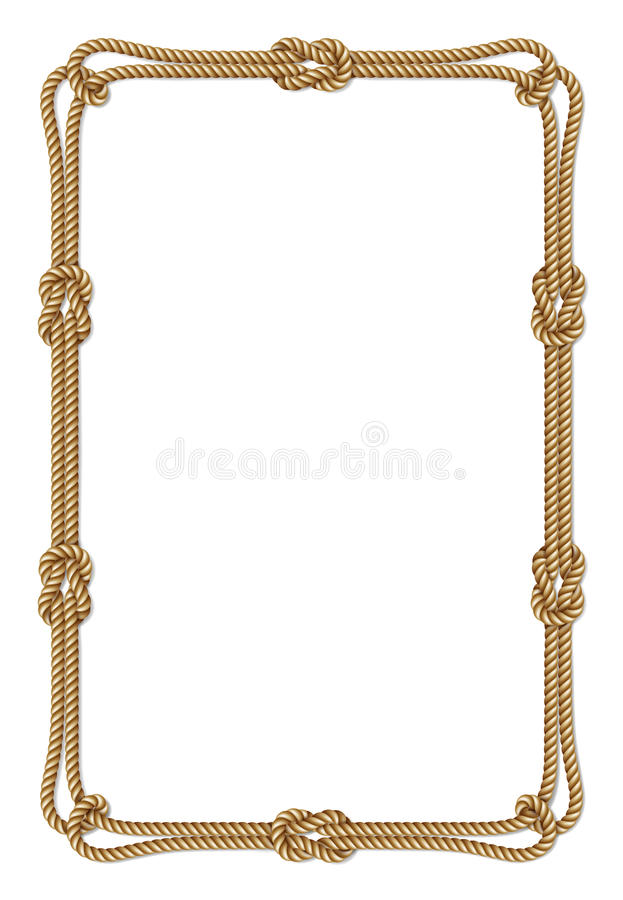 Confine con i nodi della corda, struttura verticale di vettore tessuto corda gialla di vettore illustrazione vettoriale
