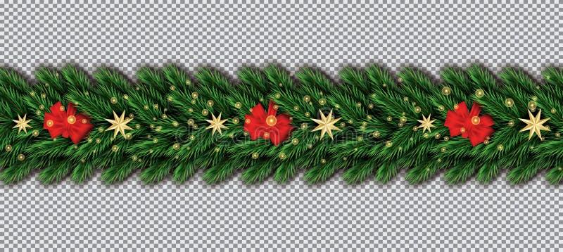 Confine con i rami dell'albero di Natale, l'arco rosso e le stelle dorate sopra illustrazione di stock