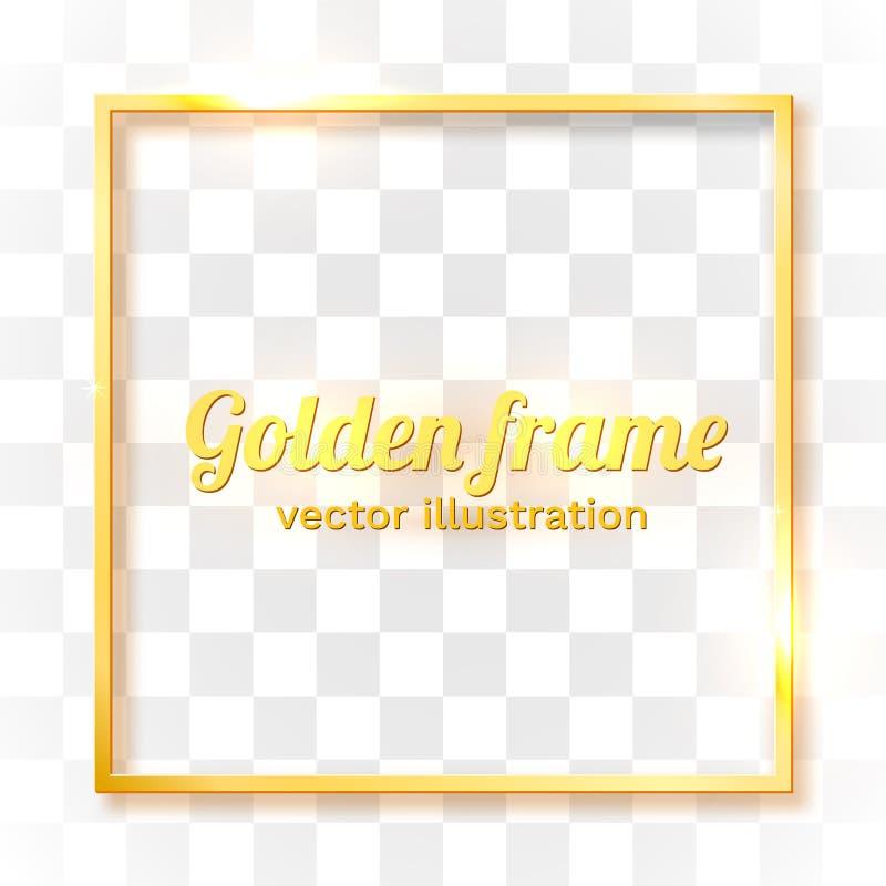 Confine d'annata brillante dell'oro isolato su fondo trasparente Struttura realistica di lusso dorata di rettangolo illustrazione vettoriale