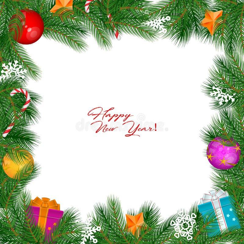 Confine d'annata di Natale di vettore isolato su fondo bianco illustrazione di stock