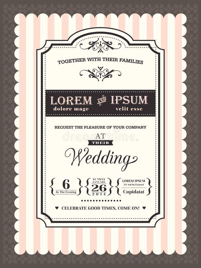 Confine d'annata e struttura dell'invito di nozze illustrazione vettoriale