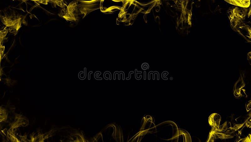 Confine da fumo Effetto nebbioso giallo per il film, il testo o lo spazio illustrazione di stock