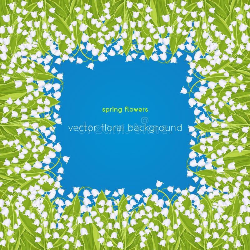 Confine del mughetto, struttura, mazzo della molla del fiore delicato, insegna floreale, illustrazione di vettore Fiori bianchi d illustrazione di stock
