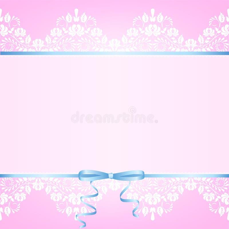 Confine del pizzo e nastro blu illustrazione di stock