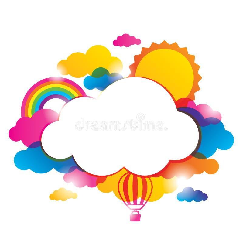 Confine del tempo con le nuvole illustrazione vettoriale