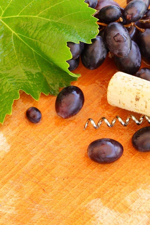 Confine del vino con l'uva e la vigna fotografia stock