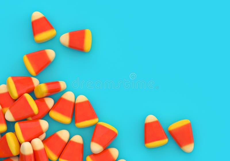 Confine dell'angolo del cereale di caramella di Halloween sopra il blu fotografia stock