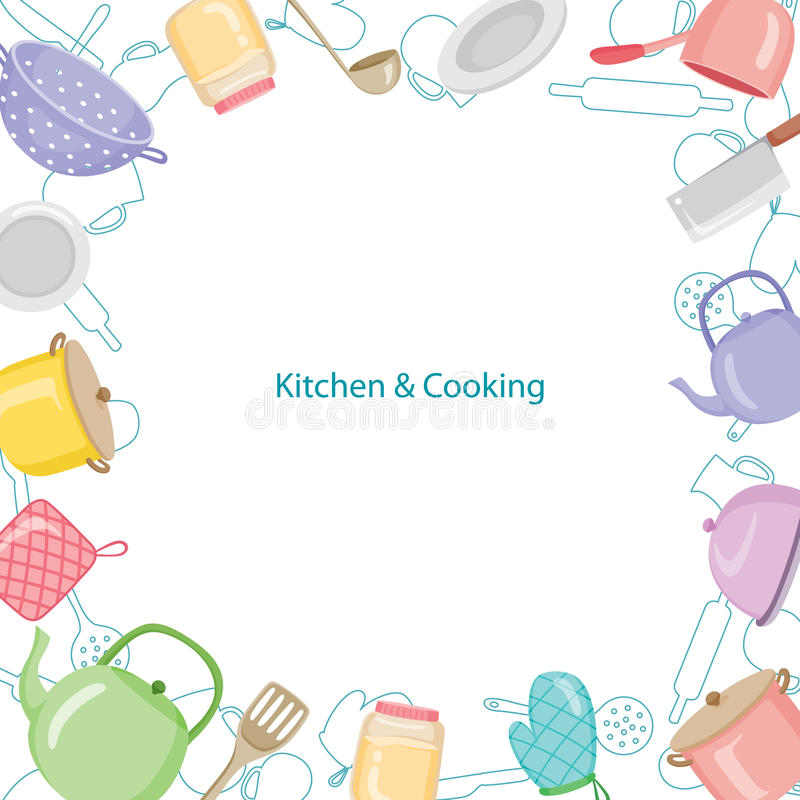 Confine dell'attrezzatura della cucina illustrazione vettoriale