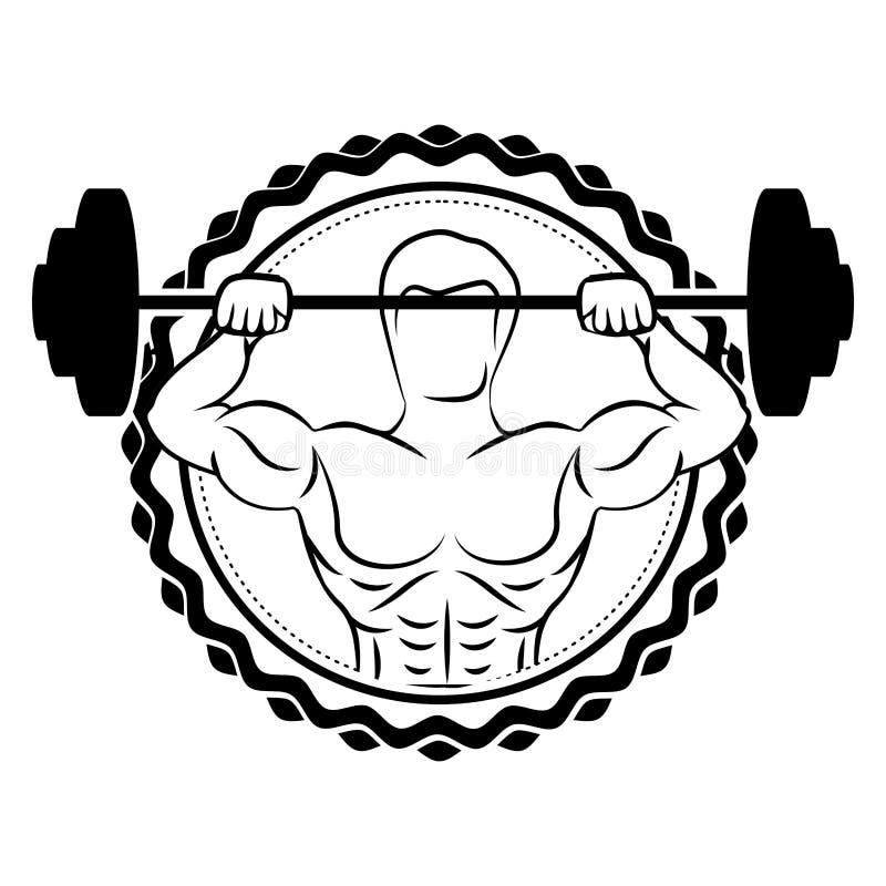 confine dell'autoadesivo con l'uomo del muscolo della siluetta pesi di sollevamento di un disco illustrazione vettoriale