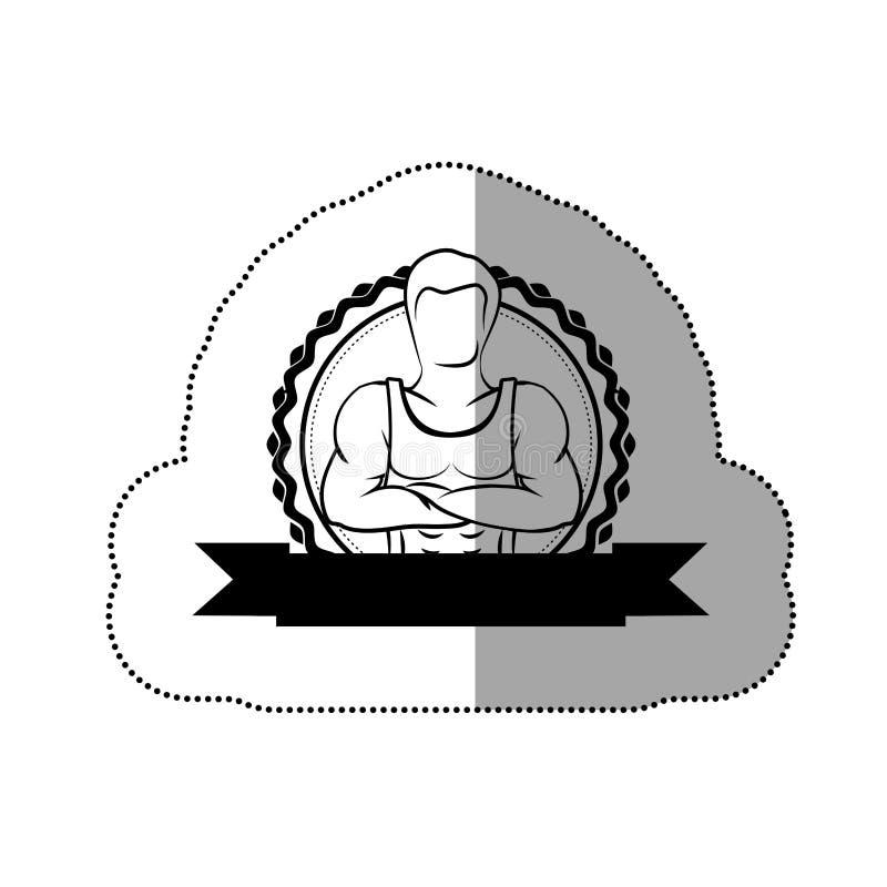 confine dell'autoadesivo di contorno con le armi attraversate uomo del muscolo della siluetta e l'etichetta nera royalty illustrazione gratis