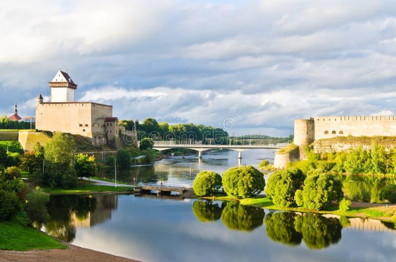 Confine dell'Estonia e della Russia fotografia stock