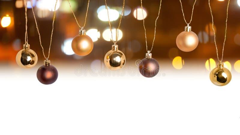Confine della cartolina di Natale con il contesto del bokeh immagine stock libera da diritti