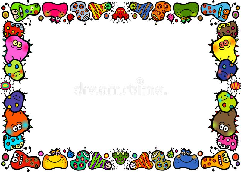 Confine della pagina dei batteri del fumetto di scarabocchio illustrazione di stock