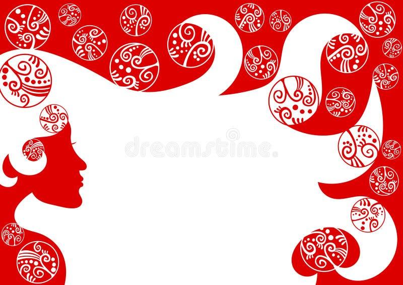 Confine della pagina di Natale dei capelli della donna royalty illustrazione gratis