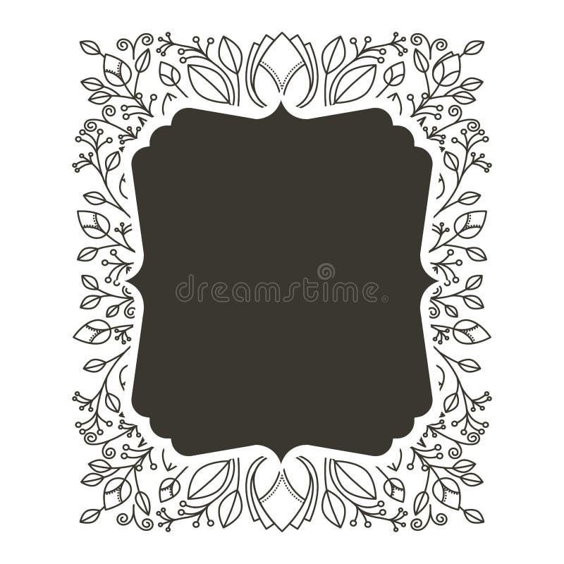 Confine della siluetta araldico con l'ornamento decorativo floreale illustrazione di stock