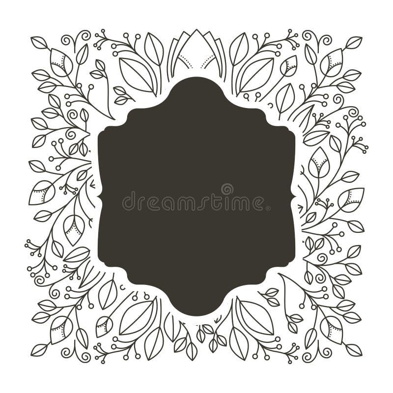 Confine della siluetta araldico con l'ornamento decorativo floreale illustrazione vettoriale