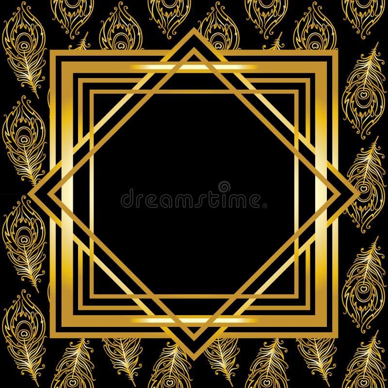 Confine di art deco con il fondo delle piume del pavone royalty illustrazione gratis