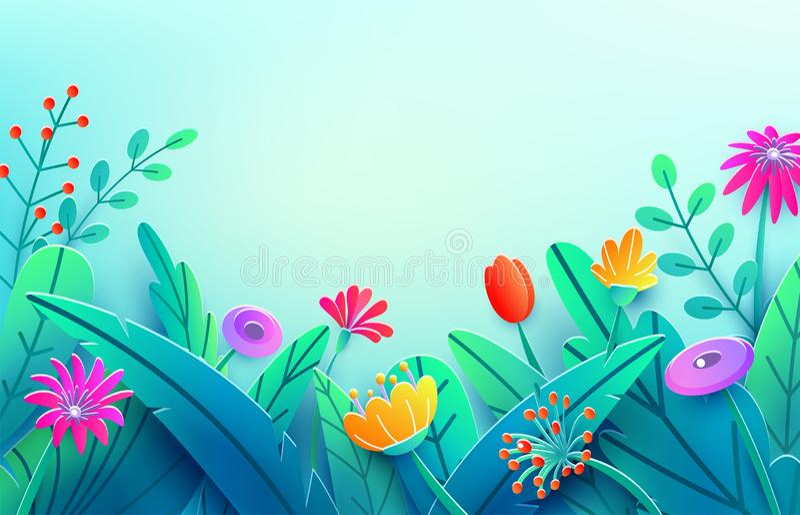 Confine di estate con i fiori tagliati di carta di fantasia, foglie, gambo Fondo floreale della molla di stile minimo 3d natura l illustrazione vettoriale