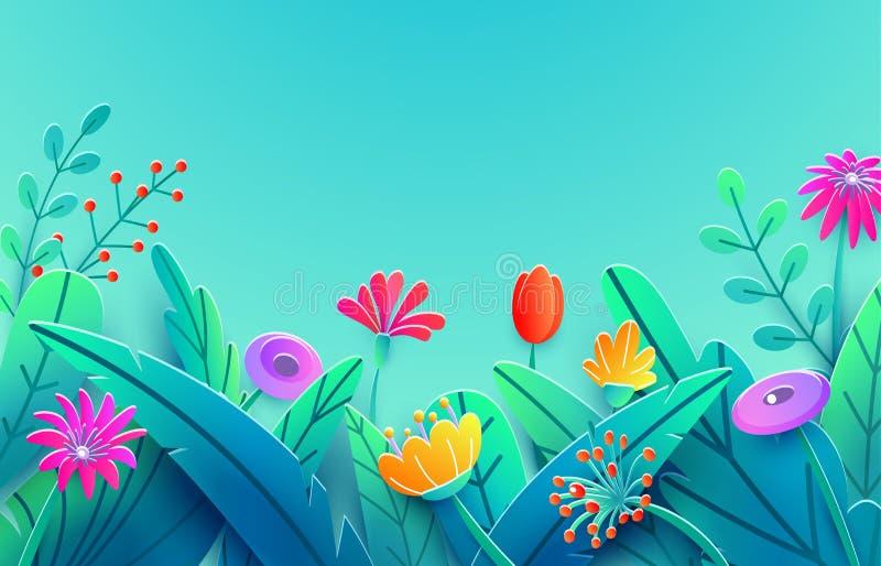 Confine di estate con i fiori tagliati di carta di fantasia, foglie, gambo isolato sul contesto del cielo blu Molla floreale di s illustrazione vettoriale