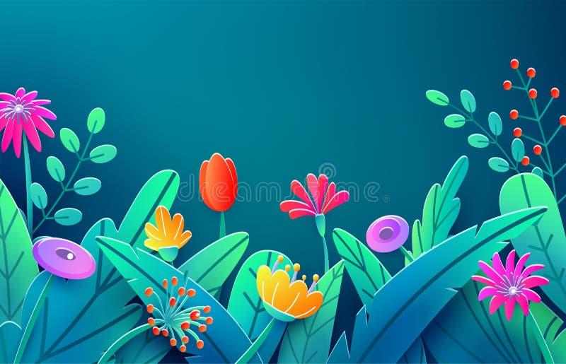 Confine di estate con i fiori tagliati di carta di fantasia, foglie, gambo isolato sul contesto scuro Molla floreale di stile min illustrazione vettoriale
