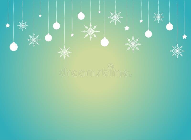 Confine di inverno con i fiocchi di neve, le stelle ed i nastri bianchi piani su fondo blu con il punto culminante giallo illustrazione vettoriale