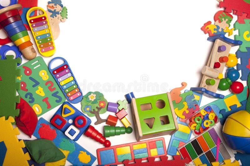 Confine di moltissimi giocattoli fotografie stock
