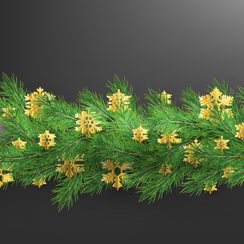 Confine di Natale fatto dei rami di sguardo realistici del pino con i fiocchi di neve della stagnola di oro sul nero ENV 10 illustrazione di stock