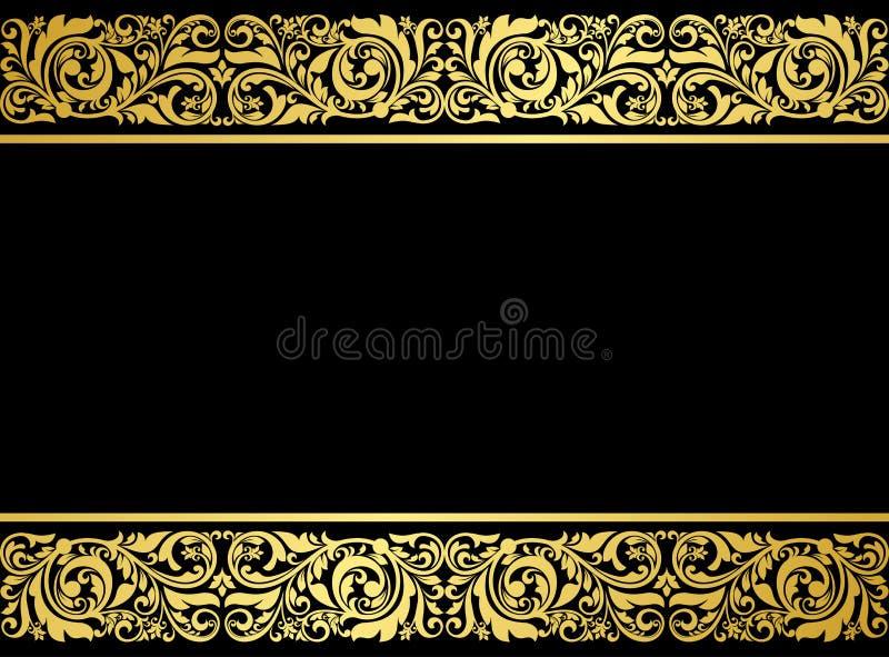 Confine floreale con gli elementi dorati royalty illustrazione gratis