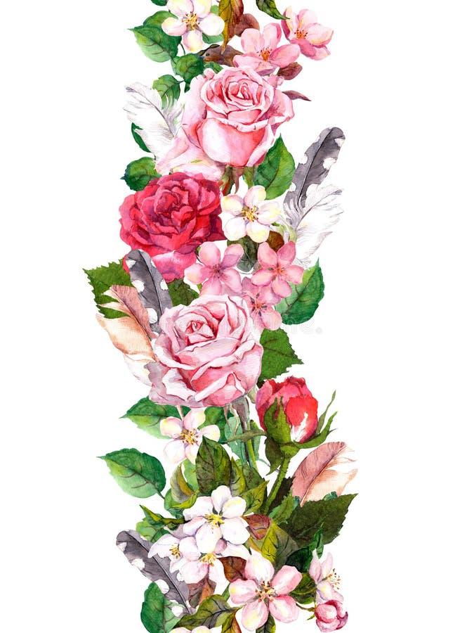 Confine floreale con la mela, i fiori di sakura, il fiore di ciliegia, i fiori delle rose e le piume Struttura senza cuciture del royalty illustrazione gratis