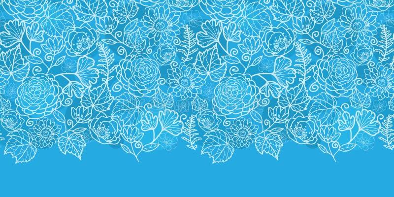 Confine floreale di orizzontale di struttura del campo blu di vettore illustrazione vettoriale
