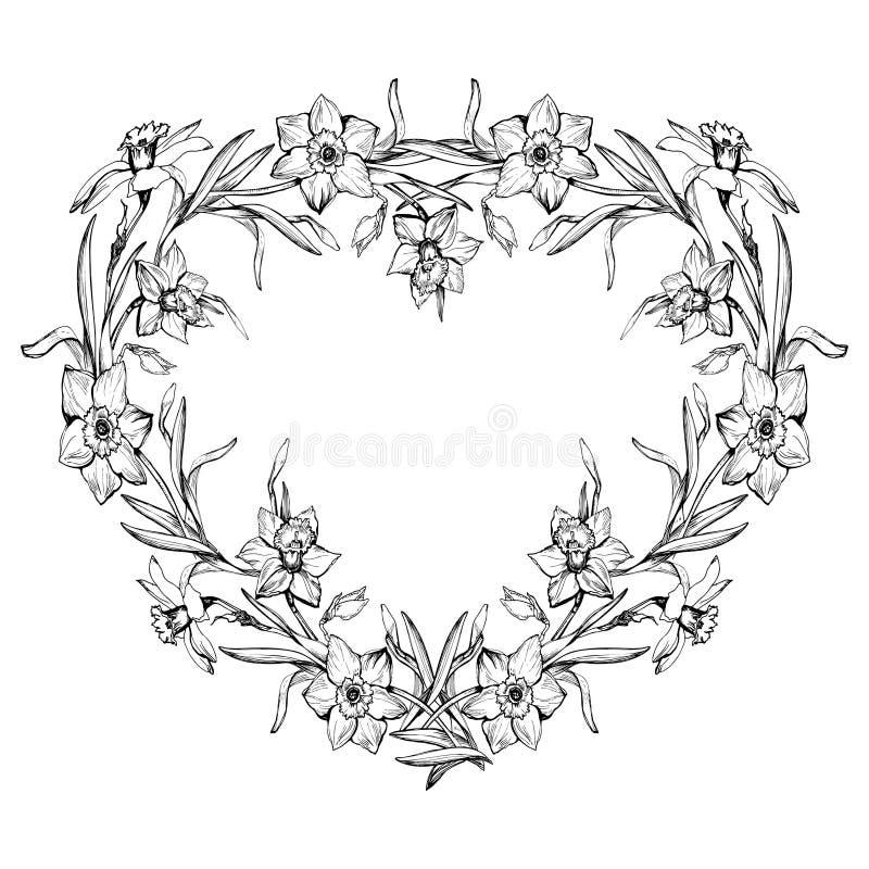 Confine floreale monocromatico decorativo nella forma di cuore illustrazione vettoriale