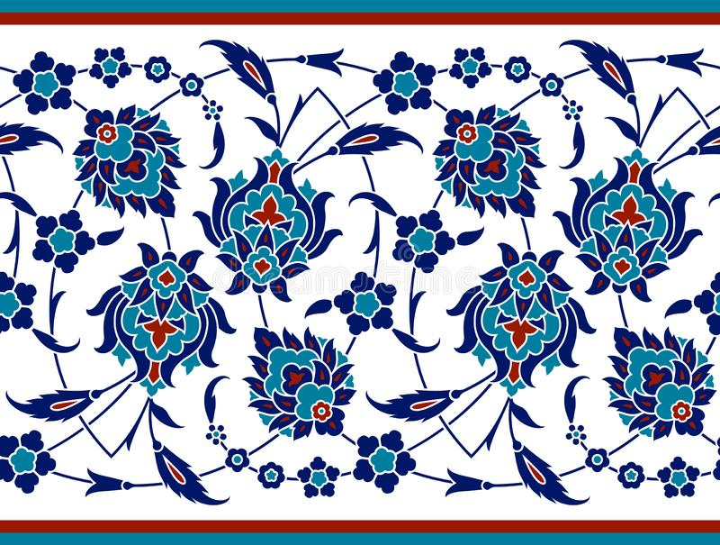 Confine floreale per la vostra progettazione Ornamento senza cuciture del ï del ¿ dell'ottomano turco tradizionale del ½ Nicea royalty illustrazione gratis