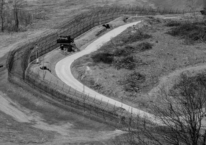 Confine fra il Corea del Nord e del Sud fotografia stock libera da diritti