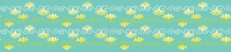 Confine grazioso del damasco del fiore La ripetizione senza cuciture fiorisce il rotolo Illustrazione floreale d'avanguardia dise illustrazione di stock