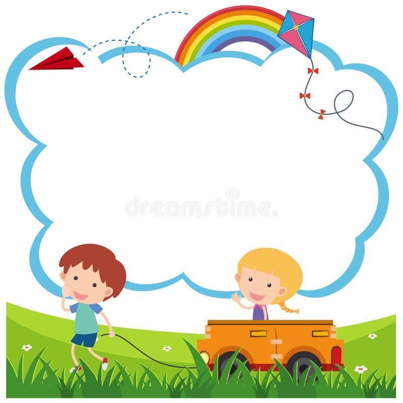 Confine la plantilla con el muchacho y la muchacha que juegan el carro ilustración del vector