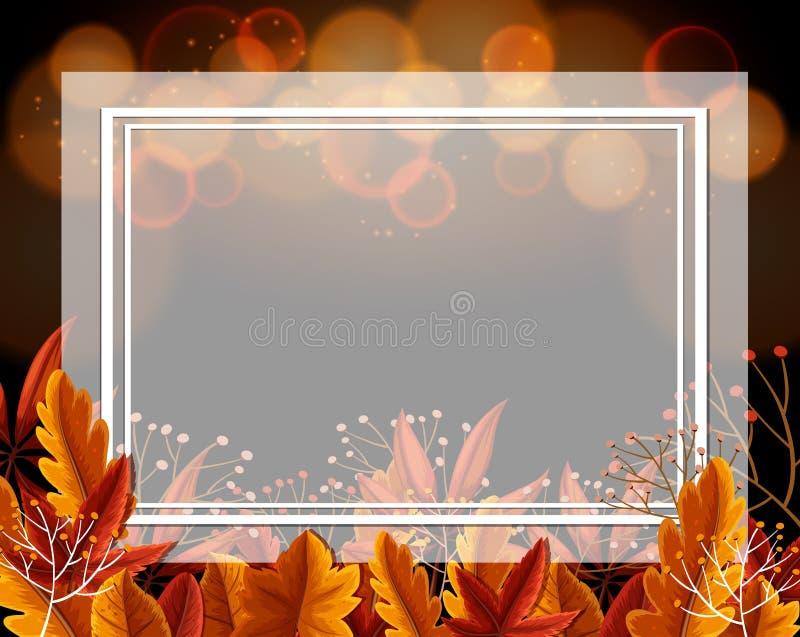 Confine la plantilla con las hojas y la luz anaranjadas en fondo libre illustration