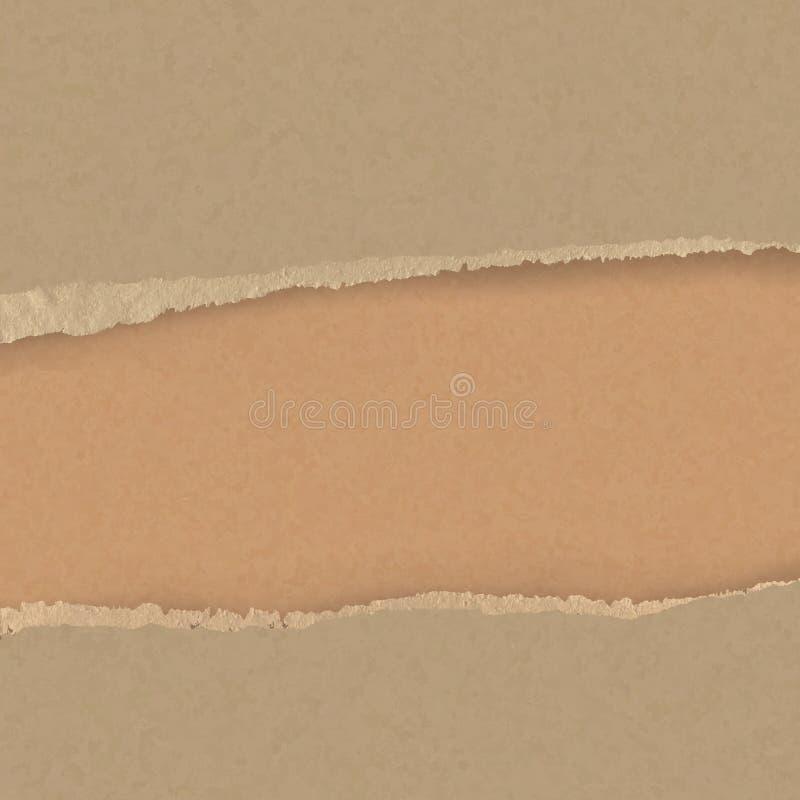 Confine marrone lacerato realistico del cartone Documento strappato illustrazione di stock