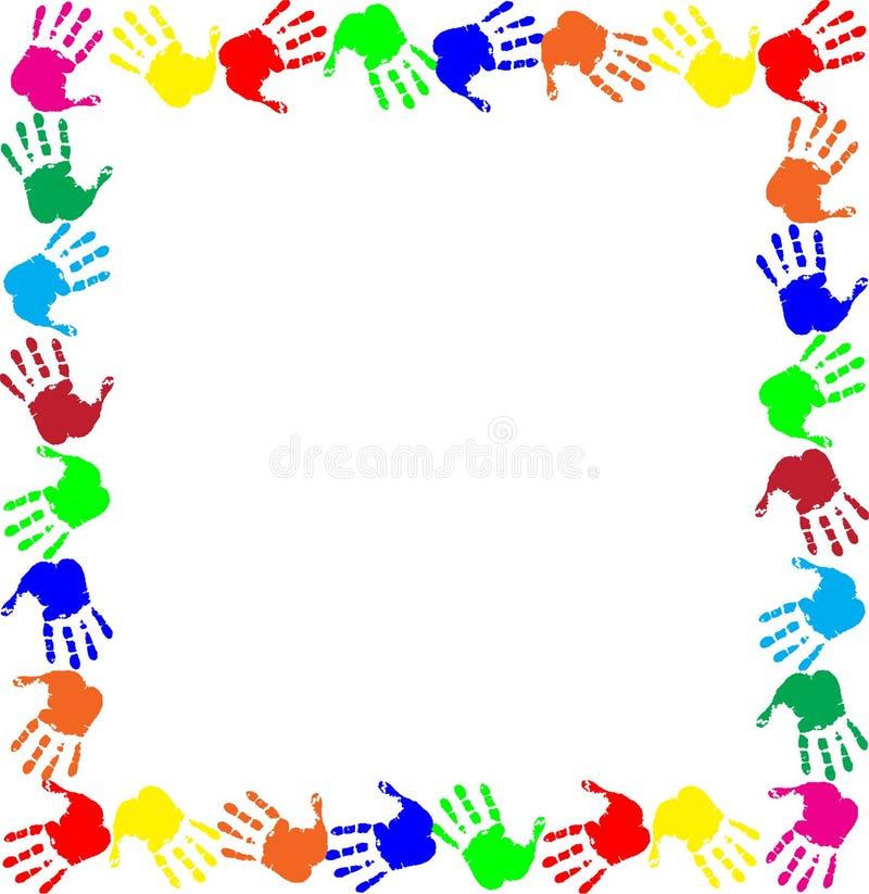 Confine multicolore dei handprints della struttura variopinta dell'arcobaleno illustrazione vettoriale