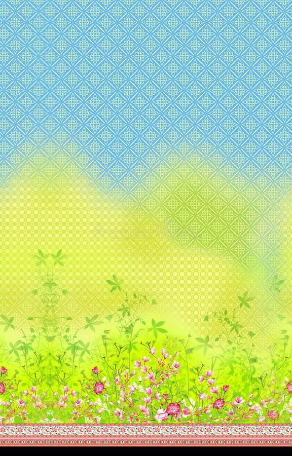 Confine orizzontale del fiore con fondo illustrazione vettoriale