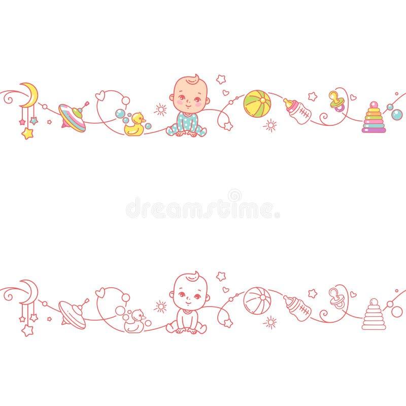 Confine ornamentale senza cuciture con gli oggetti ed i giocattoli del bambino royalty illustrazione gratis