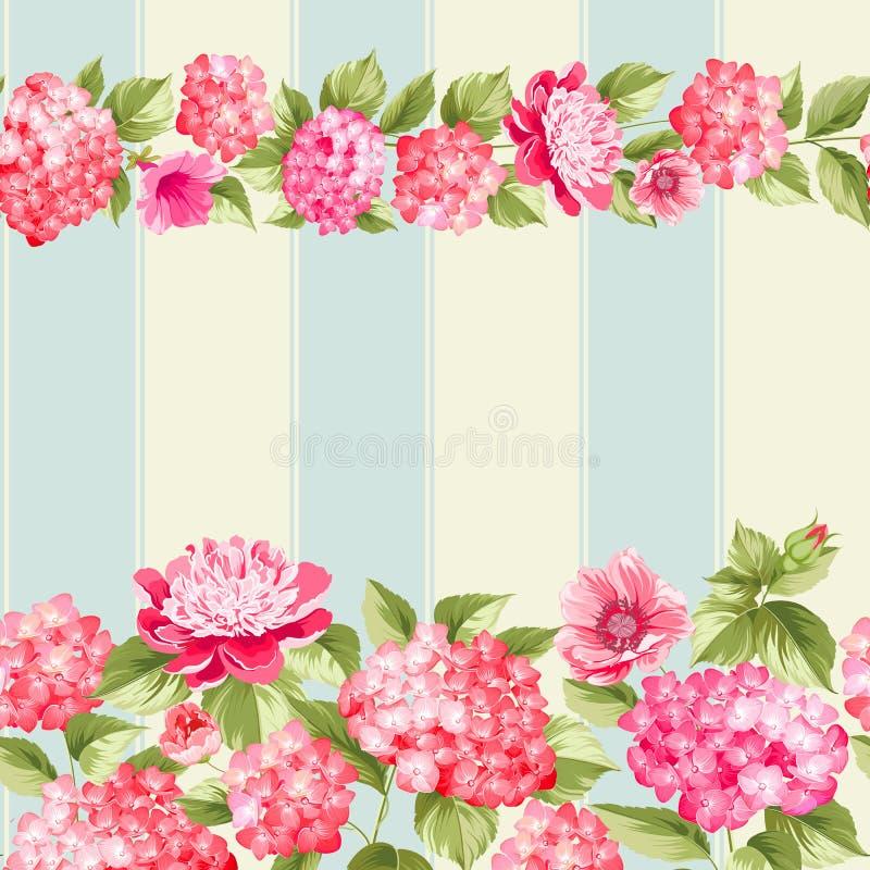 Confine rosa del fiore con le mattonelle illustrazione di stock