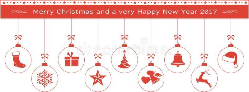 Confine rosso del buon anno e di Buon Natale con ornam d'attaccatura illustrazione di stock